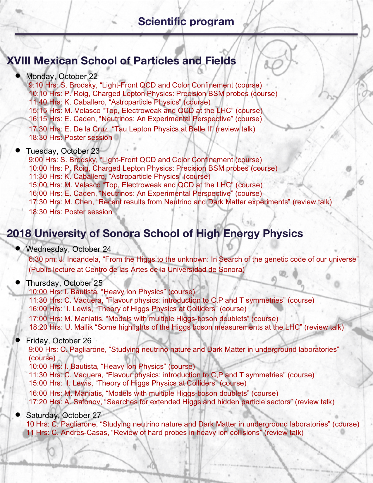 Xviii Mexican School Of Particles And Fields And 2018